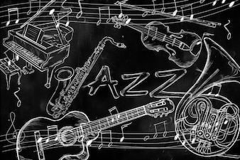Jazz instruments music background on dark blackboard