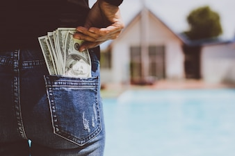 Jeans people background cash pocket