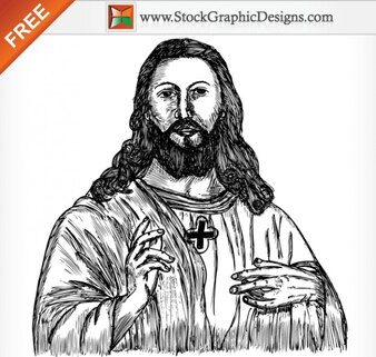 Jesus Christ Hand Drawn Free Vector