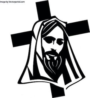 Jesus head with cross