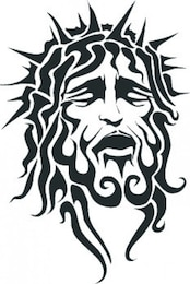 Jesus suffering face with sharp crown