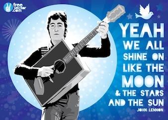 John Lennon with Guitar Poster