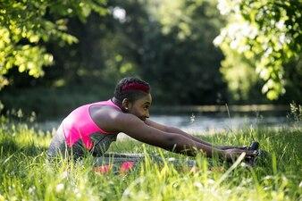 Joyful forest bend game jogging yoga