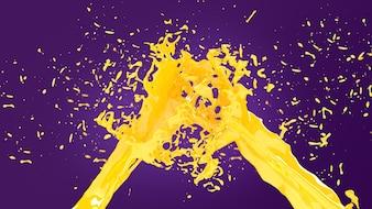 Juice splash on purple background