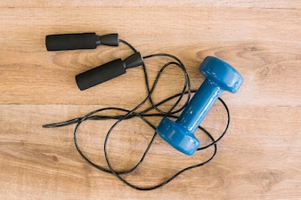 Jump rope and dumbbell