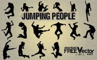 jumping people   all silhouettes