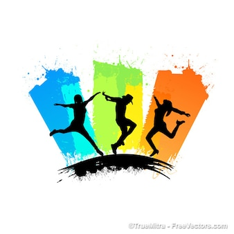 Jumping people silhouettes colorful illustration