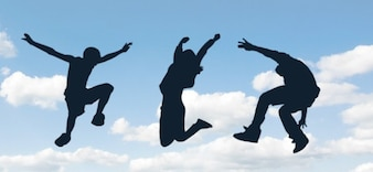 jumping people silhouettes set