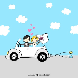 Just married cartoon couple