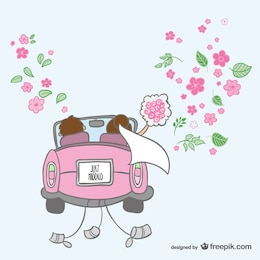 Just married cartoon illustration