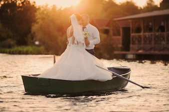 Just married in a boat