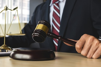 Justice and Law concept. lawyer working at courtroom