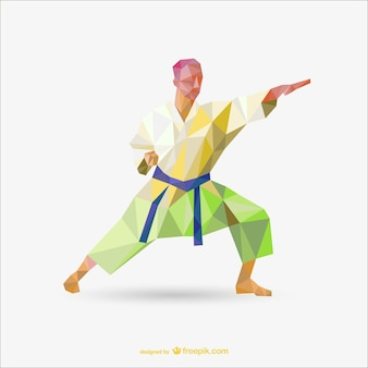 Karate polygon vector drawing