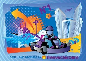 Karting Vector Poster