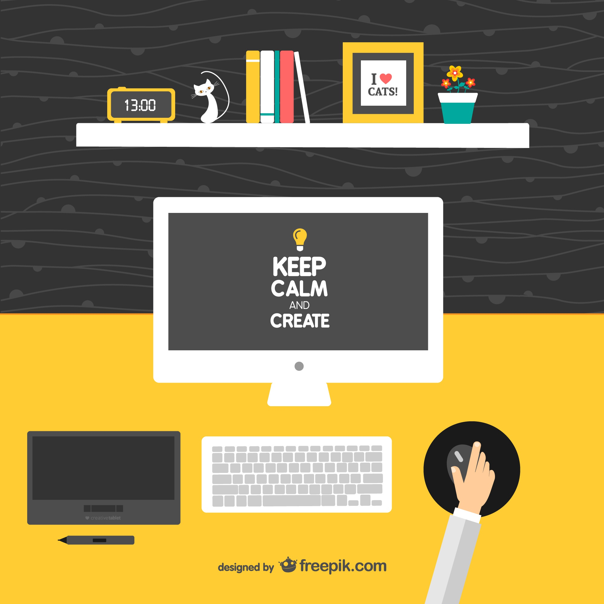 Keep calm and create designer's desk vector