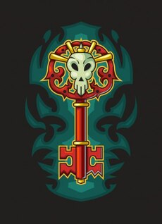 Key of hell halloween illustration