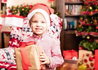 Kid having fun on christmas