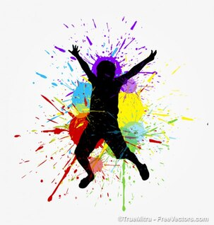 Kid silhouette with paint splashes