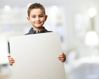 Kid with a poster