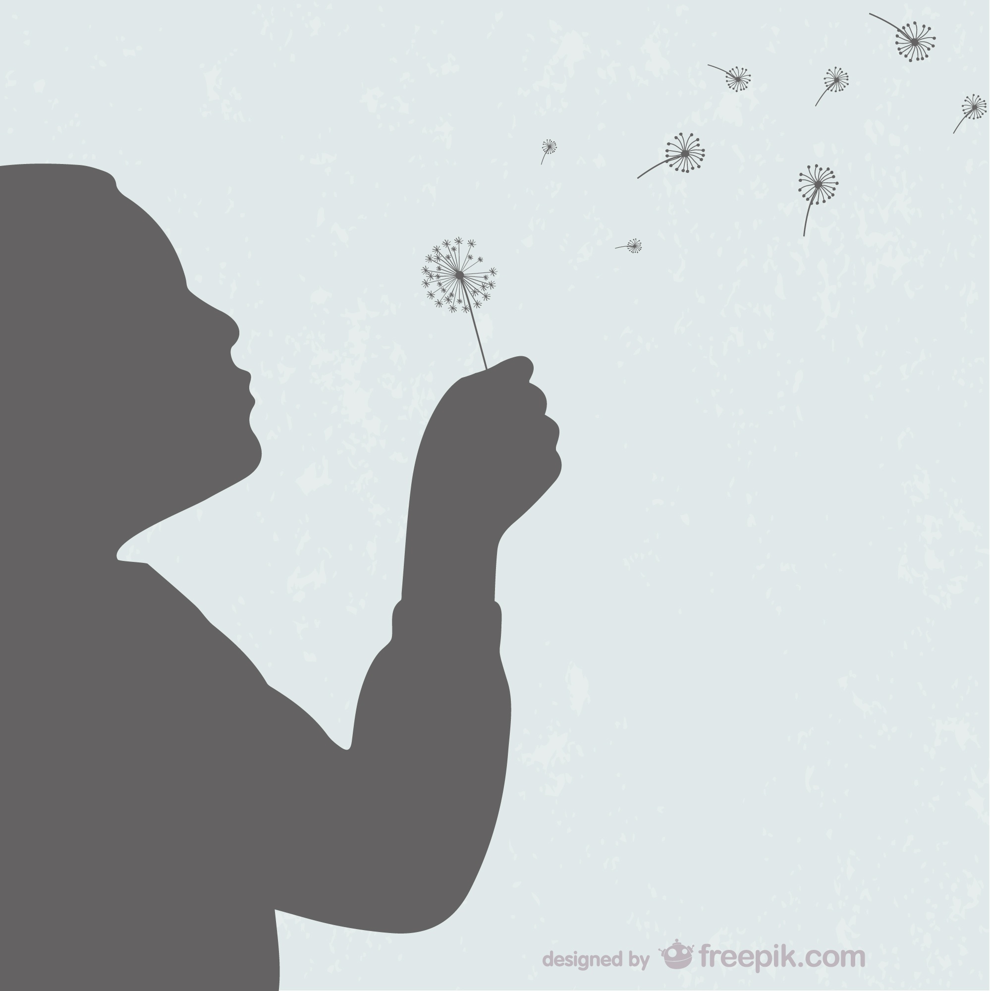 Kid with dandelion silhouette