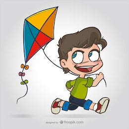 Kid with kite cartoon