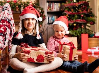 Kids having fun on christmas