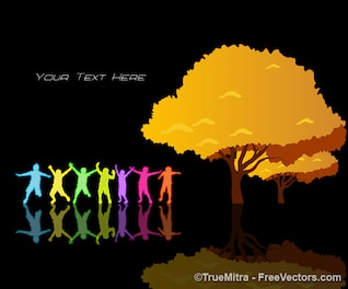 kids silhouettes colored background vector