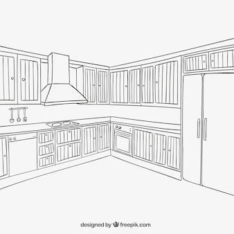 Kitchen interior in sketchy style