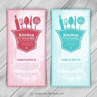 Kitchen utensils banners