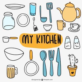 Kitchen utensils doodles