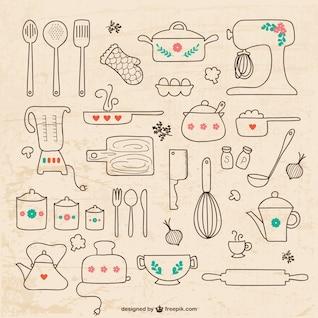Kitchen utensils drawings