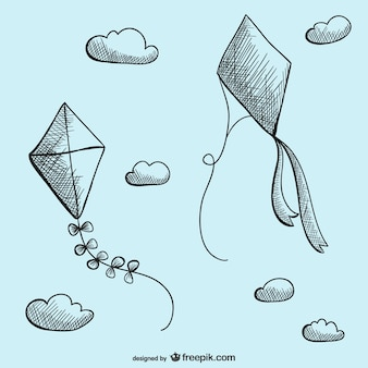 Kites drawing vector