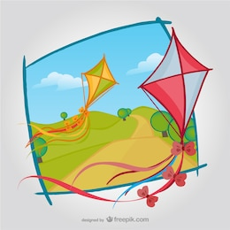 Kites with natural landscape