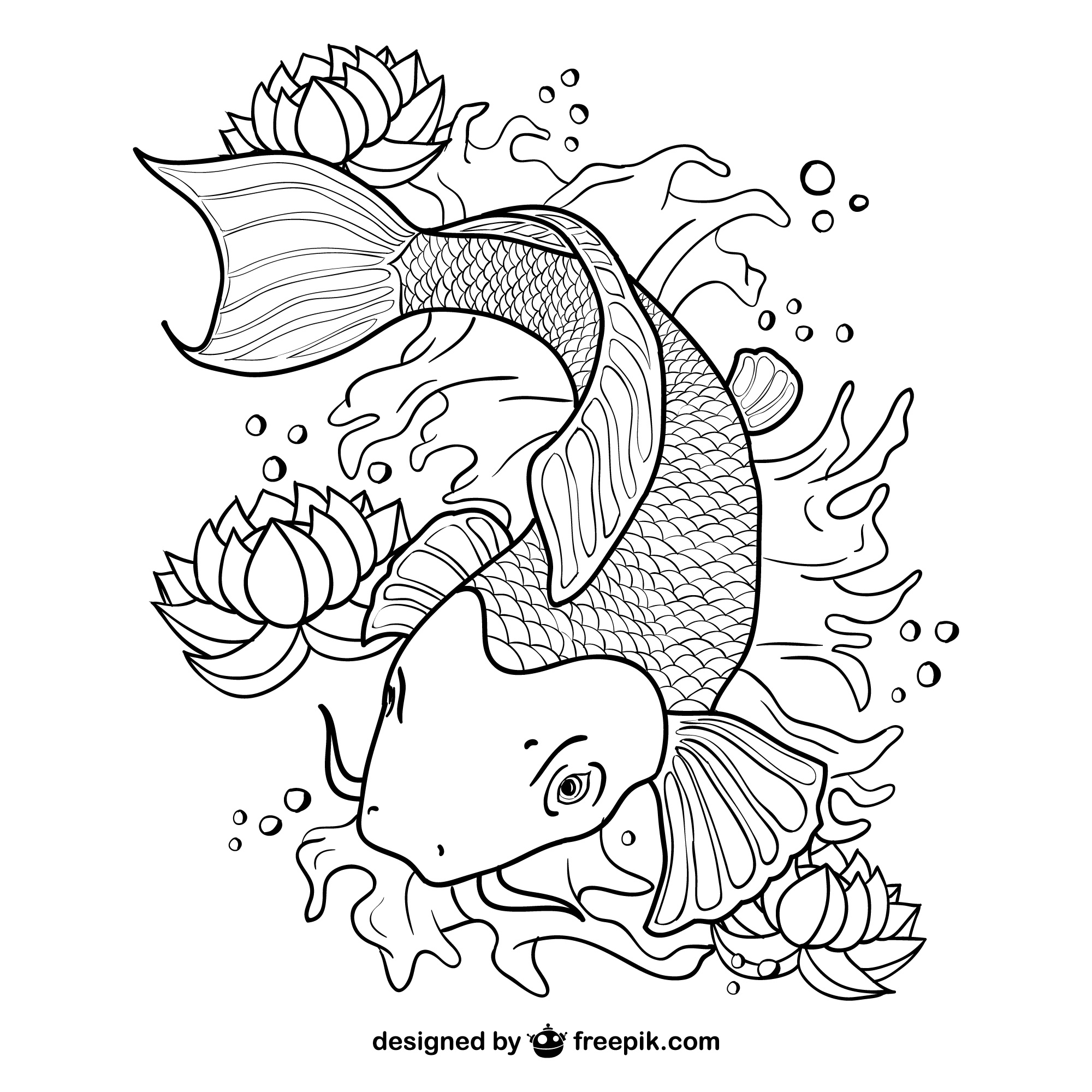 Koi fish line art vector