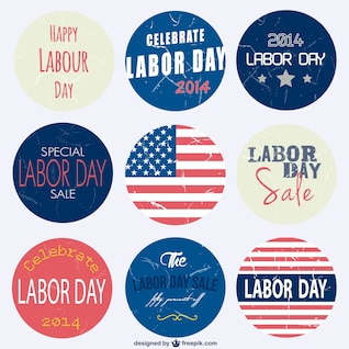 Labor's day set of badges free for dowload