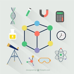 Laboratory icons in flat design