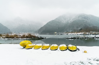 Lake Shoji Japan. view of beautiful white winter