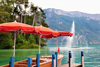 Lake side of annecy france
