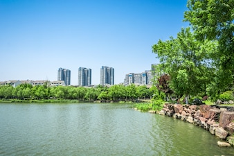 Lake with city