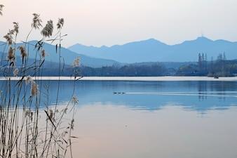 Lake with mountains background