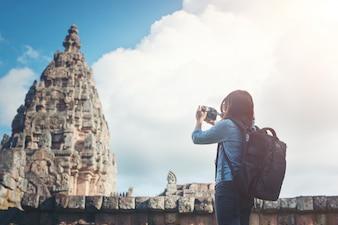 Landmark camera architecture view woman