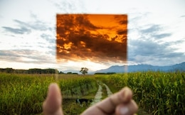 Landscape through orange filter