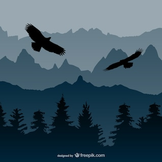 Landscape with eagles vector