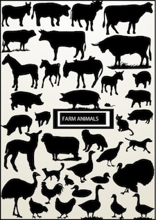 Large collection of animal silhouettes