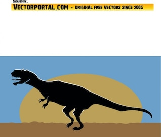 Lateral dinosaur silhouette on landscape