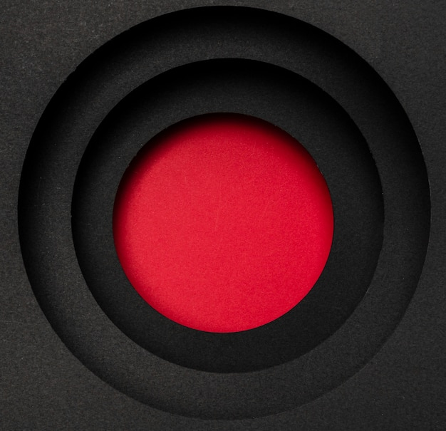 Layers of circular black background and red circle