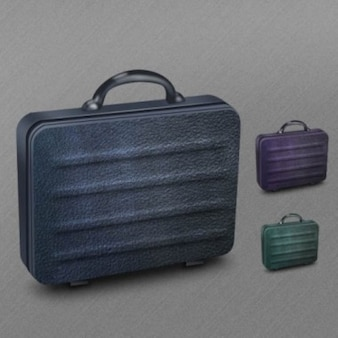 Leather texture briefcase icon PSD