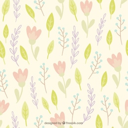 Leaves and flowers pattern