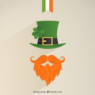 Leprechaun icon with a green hat and bushy red beard