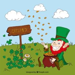 Leprechaun throwing coins on a meadow
